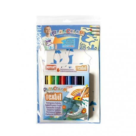 Pack 2-en-1 comprenant 2 POCHOIRS garçons + TEXTIL POCKET - 6 Stylos de peinture gouache solide spécial textile