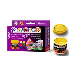 Lot de 6 Pots de Peinture Acrylique - 40 ml. - Couleurs Assorties - Playcolor - Acrylic Basic - 18191