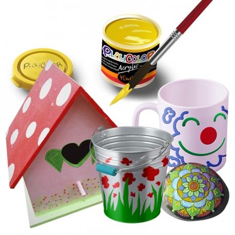 Lot de 6 Pots de Peinture Acrylique Métallique - 40 ml. Monocouleur Or - Playcolor - Acrylic Metallic - 18331