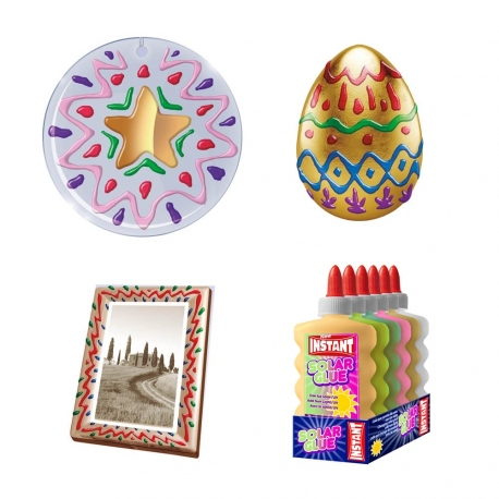 Lot de 6 Colles couleur transparente 180ml - 6 couleurs assorties - Loisirs créatifs - SLIME - INSTANT