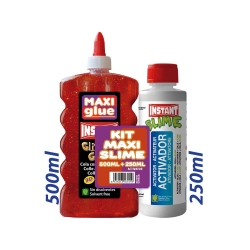 KIT MAXI SLIME COLLE GLITTER ROUGE 500ml + ACTIVATEUR 250ml. - INSTANT