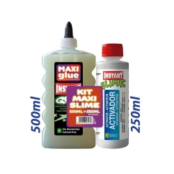 KIT MAXI SLIME COLLE PHOSPHORESCENTE VERTE 500ml + ACTIVATEUR 250ml. - INSTANT