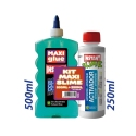 KIT MAXI SLIME COLLE TRANSPARENTE VERTE 500ml + ACTIVATEUR 250ml. - INSTANT