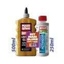KIT MAXI SLIME COLLE METALLIQUE OR 500ml + ACTIVATEUR 250ml. - INSTANT