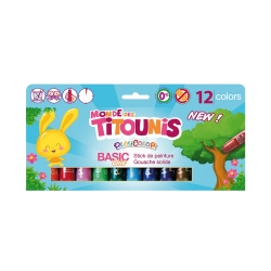 Sticks de peinture gouache solide 10g Monde des Titounis - Playcolor Basic One - 12 couleurs assorties