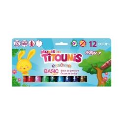 Sticks de peinture gouache solide 10g Monde des Titounis - Playcolor Basic One - 12 couleurs assorties