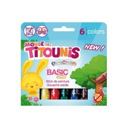 Sticks de peinture gouache solide 10g Monde des Titounis - Playcolor Basic One - 6 couleurs assorties