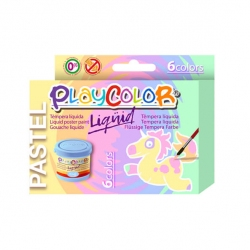 Lot de 6 pots de peinture LIQUID PASTEL - 40 ml. couleurs assorties - PLAYCOLOR