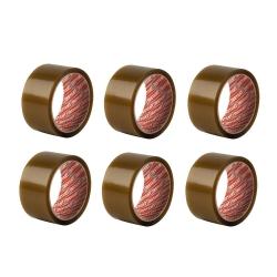 Lot de 6 Rubans Adhésifs d'Emballage Brun Larg. 50mm x Long. 66m - Instant - 63101-B