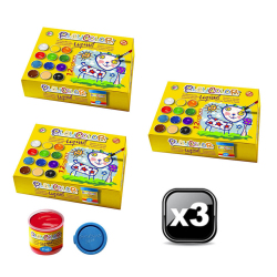 Pack XXL - 3 Lots de 12 Pots de Peinture Gouache Liquide Basic - 40 ml. Couleurs Assorties - Playcolor