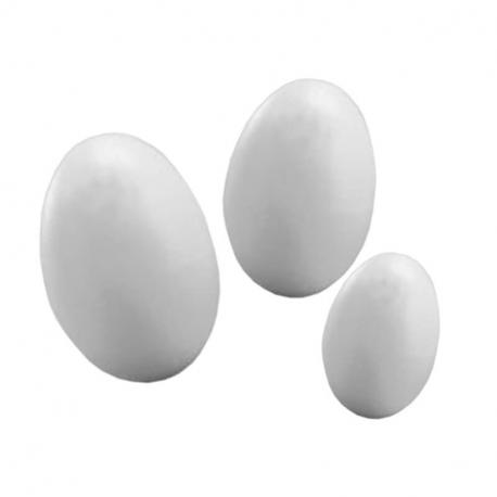 Lot de 100 Oeufs en Polystyrène Blanc à Personnaliser - Assortiment de 3 tailles