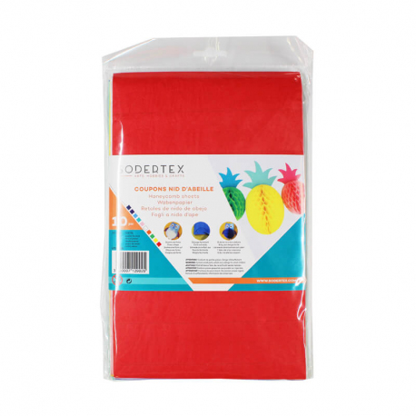 Coupons Papiers de Soie Nid d'Abeille 20G/M2 - 28x17,5cm - 10 couleurs assorties