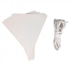 Lot de 2 Guirlandes avec 10 Fanions en Carton de 15x20cm à Personnaliser - Carton 250G/M2 - Coloris Blanc