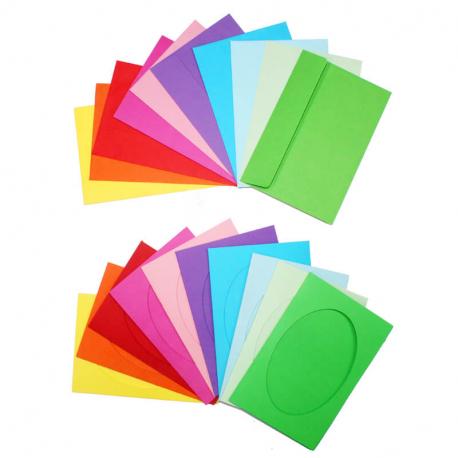 Lot de 10 Cartes 3 Volets en Carton + Enveloppes en Papier à Personnaliser - 29,7x14,8cm - Carton 230G/M2 - 10 Coloris Assortis
