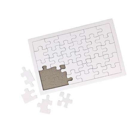 Lot de 10 Puzzle en Carton de 30 pièces avec Contour à Personnaliser - 14x21cm - Carton 900G/M2 - Coloris Blanc
