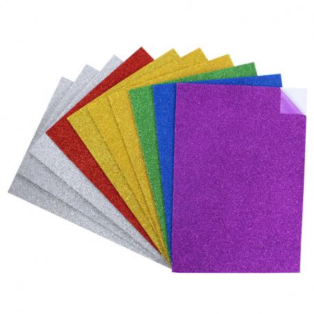 Coupons Mousse EVA adhésifs pailletés - 21x29,7cm - 10 pièces et 6 couleurs assorties