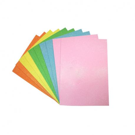 Coupons Mousse EVA Pailletée - 21x29,7cm - 10 pièces et 5 couleurs Pastel assorties