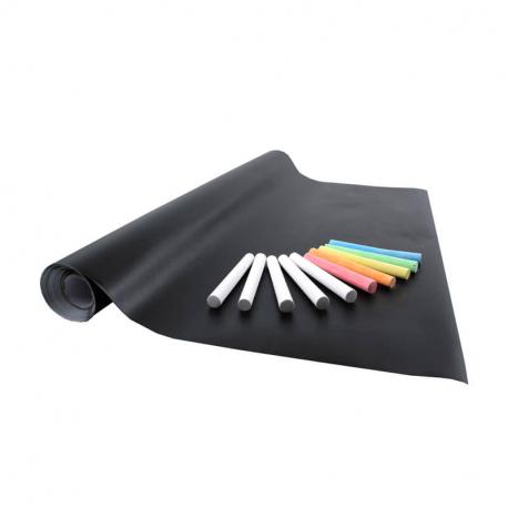 Rouleau Ardoise Adhésif avec Quadrillage au Dos 0.45x2m + Lot de 10 Craies - Coloris Noir