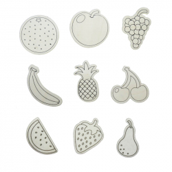 Pack de 9 Aimants en Bois à Colorier - 4x6cm - Thème Fruits - Coloris Naturel