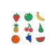 Pack de 9 Aimants en Bois à Colorier - 4x6cm - Thème Fruits - Coloris Naturel