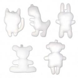 Lot de 10 Mascottes à Décorer - 100% coton - Coloris Blanc