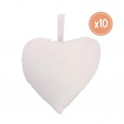 Lot de 10 Coeurs avec Accroche à Décorer - 100% coton - 8x9 cm - Coloris Blanc