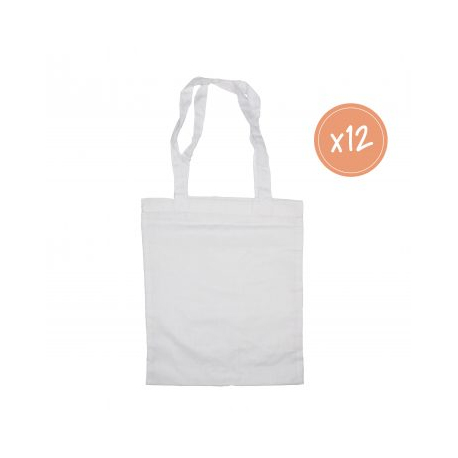 Petit Sac Shopping en Coton 100G/M2 à Personnaliser - 24x29cm - Coloris Blanc
