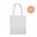 Lot de 12 Petits Sac Shopping en Coton 100G/M2 à Personnaliser - 24x29cm - Coloris Blanc
