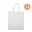 Lot de 12 Grands Sacs Shopping en Coton 100G/M2 à Personnaliser - 37x42cm - Coloris Blanc