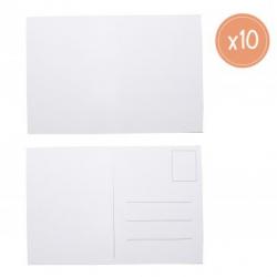 Lot de 10 Cartes Postales en Carton à Personnaliser - 10x15cm - Carton 250G/M2 - Coloris Blanc
