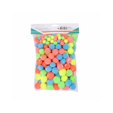 Lot de 200 Pompons Néon en Polyester - 3 tailles - Assortiment de 5 Couleurs