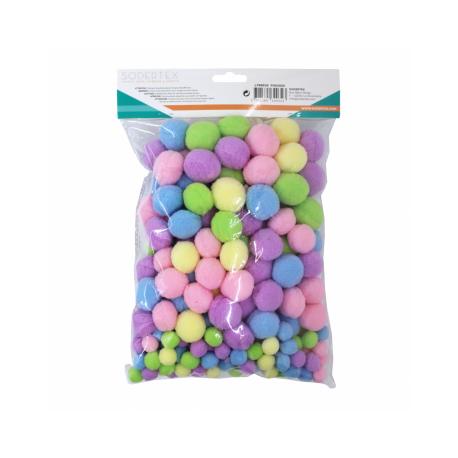 Lot de 200 Pompons Pastel en Polyester - 3 tailles - Assortiment de 5 Couleurs