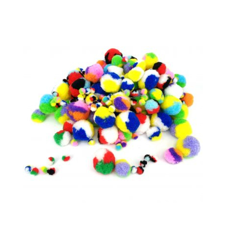 Lot de 200 Pompons Tricolores en Polypropène - 3 tailles - Assortiment de 10 choix Tricolores