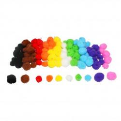 Pack pompons polypropylène à trous - 100 pcs - Tailles assorties - 10 coloris