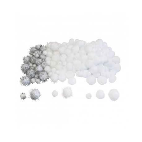Lot de 200 Pompons White - 3 tailles - Assortiment de blanc et de pailleté