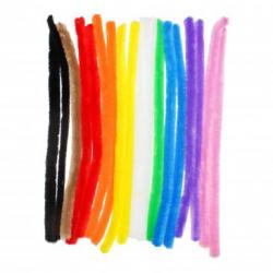 Lot de 10 Chenilles Colorées - Diamètre 15mm - Longueur 30cm - 18 brins -- Assortiment de 10 Couleurs