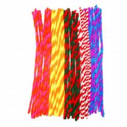 Lot de 10 Chenilles Twist Colorées - Diamètre 6mm - Longueur 30cm - 50 brins - Assortiment de 10 Couleurs