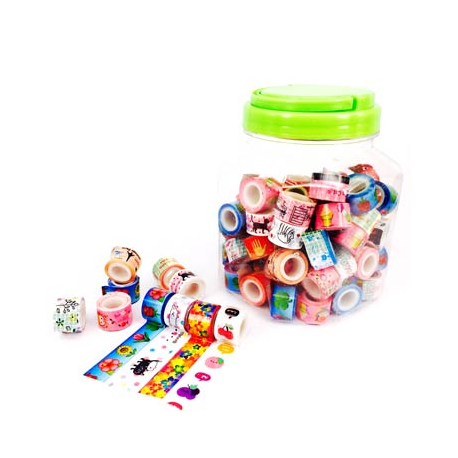 Maxi Pack de 100 Mini Rubans Adhésifs Repositionnables - Largeur 11,6mm - Longueur 1m - Thème : La Bonbonnière Fanfreluche