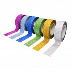 Pack de 6 Mini Rubans Adhésifs Repositionnables - Largeur 15mm - Longueur 10m - Thème : Paillette