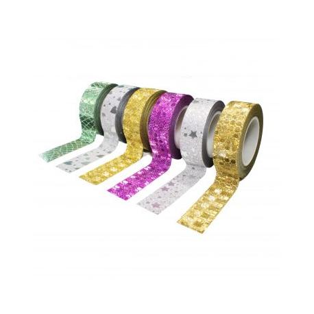 Pack de 6 Mini Rubans Adhésifs Repositionnables - Largeur 15mm - Longueur 10m - Thème : Paillette Déco