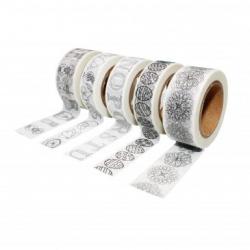 Pack de 5 Rubans Adhésifs Repositionnables à Colorier- Largeur 15/20mm - Longueur 10m - Coloris Blanc Impressions Noires