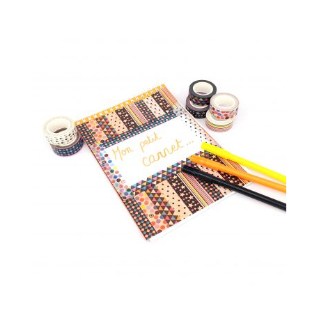 Pack de 6 Mini Rubans Adhésifs Repositionnables - Largeur 15mm - Longueur 10m - Thème : Géométrie