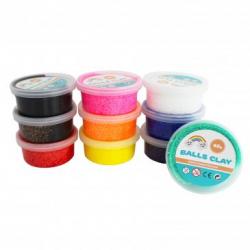 Pack de 10 Pots de Pâte à Modeler Autodurcissante avec Billes Polystyrène 40g - Assortiment de 10 Couleurs