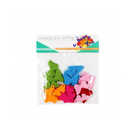 Lot de 30 Papillons en Feutrine de 3mm - Diamètre 4cm - Assortiment de 6 Couleurs