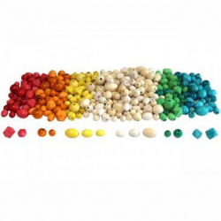 Lot de 300 Perles en Bois Scandinaves - Assortiment de 3 tailles - Assortiment de 6 couleurs