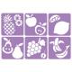 Pack de 6 Pochoirs en Plastique Incassable 5mm - Thème Mon Verger - Dim 14x14cm - Coloris Violet