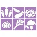 Pack de 6 Pochoirs en Plastique Incassable 5mm - Thème Mon Potager - Dim 14x14cm - Coloris Violet