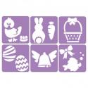 Pack de 6 Pochoirs en Plastique Incassable 5mm - Thème Pâques - Dim 14x14cm - Coloris Violet