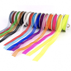 Lot de 15 Rubans Organza Colorés - Largeur 9mm - Longueur : 10m - Assortiment de 15 couleurs