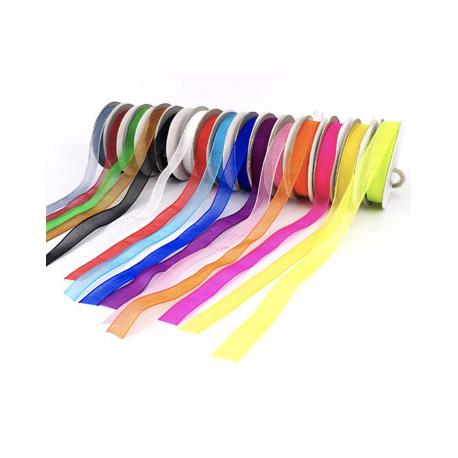 Lot de 15 Rubans Organza Colorés - Largeur 9mm - Longueur : 10m - Assortiment de 15 couleurs